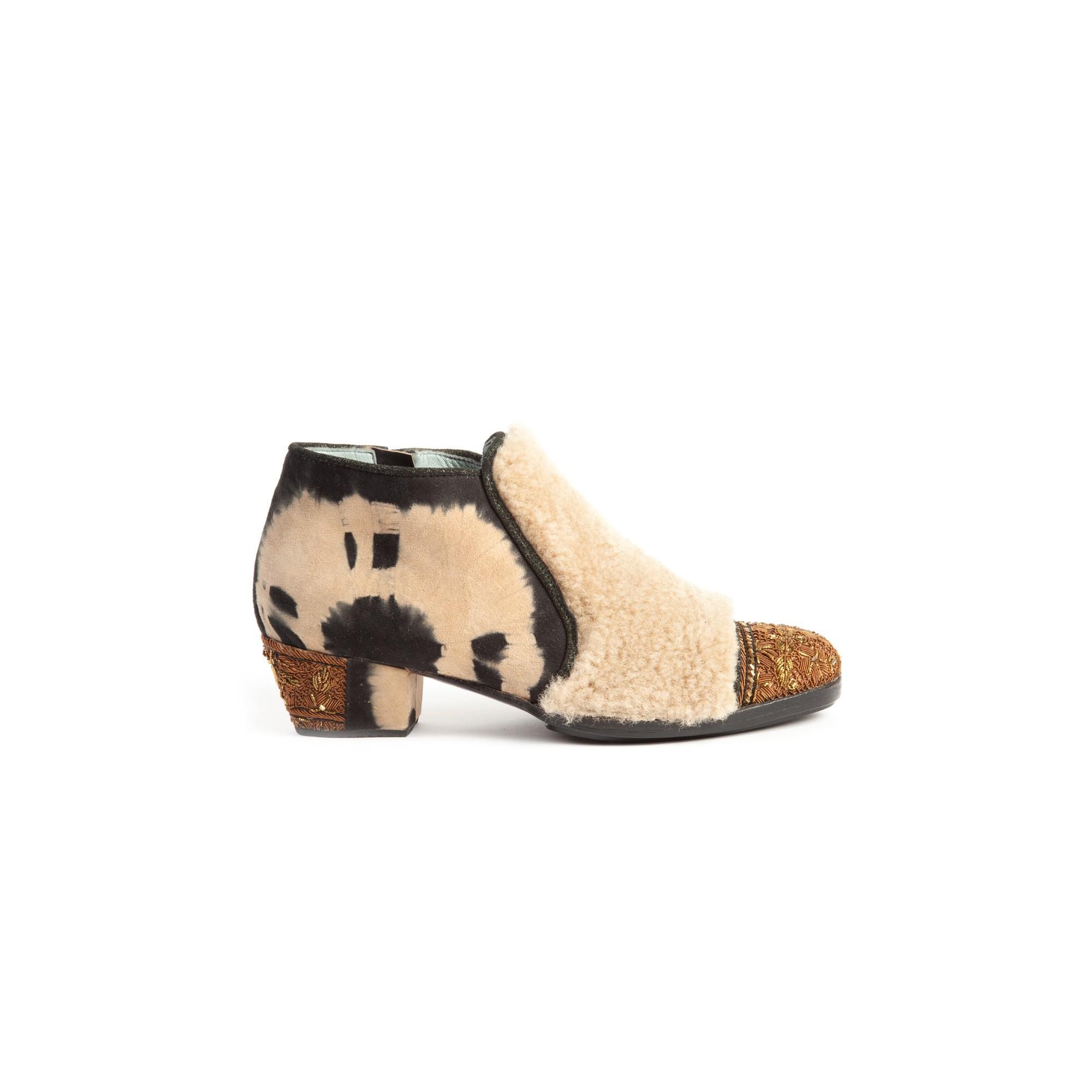 LIGETTI HEEL - shearling+td black beige/khaki