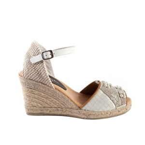 QUEEN YUCA WEDGE - snake white/white pearl