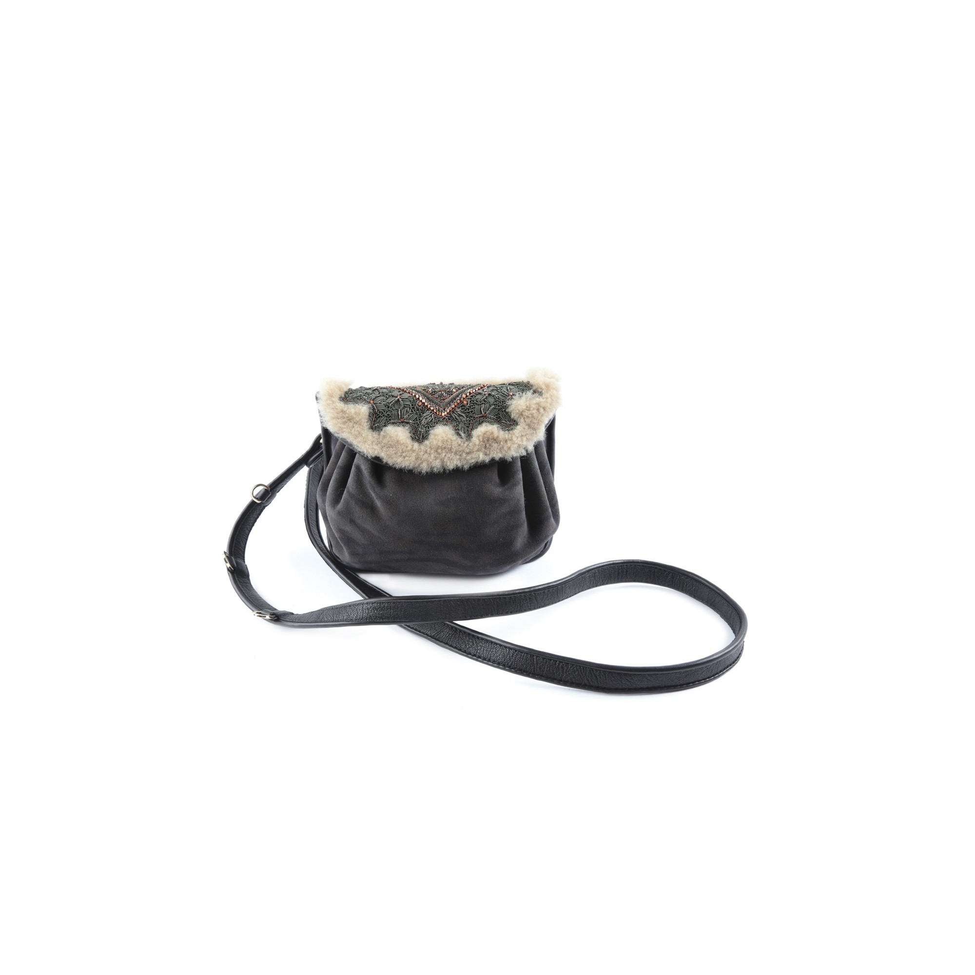 BIZI ACCORDION BAG - shearling+tiger