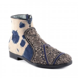 QUEEN NEVA BOOT - TD BLUE BEIGE/CEMENT BEAD
