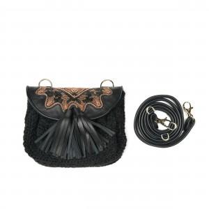 BIZI ACCORDION BAG - WOOL BLACK+BLACK/OSIRIS GOLD